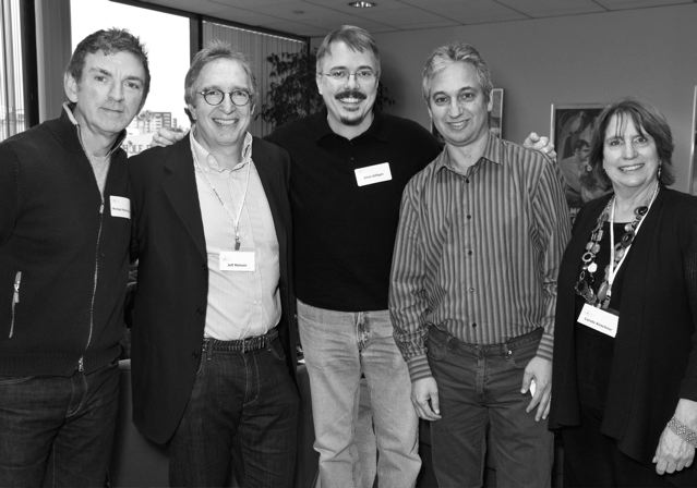 """L to R: Michael Patrick King (""""Sex and the City""""), Jeff Melvoin (""""Army Wives""""), Vince Gilligan (""""Breaking Bad""""), David Shore (""""House""""), and Carole Kirschner at the WGA. Photo courtesy of WGA(W)."""