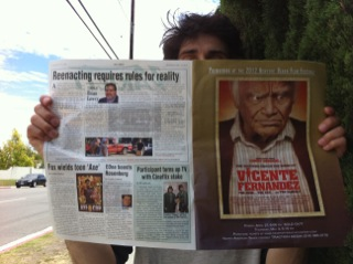"""""""The Man who Shook the Hand of Vincente Fernandez"""" ad in Variety. Photo courtesy of Elia Petridis."""
