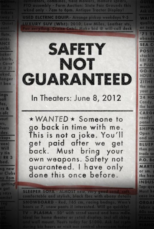 "One-sheet for film ""Safety Not Guaranteed."" Artwork courtesy of Big Beach Films."