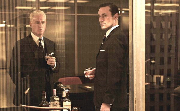"""John Slattery as Roger Sterling and Jon Hamm as Don Draper in """"Mad Men.""""  Photo by Frank W. Ockenfels and courtesy of AMC network."""