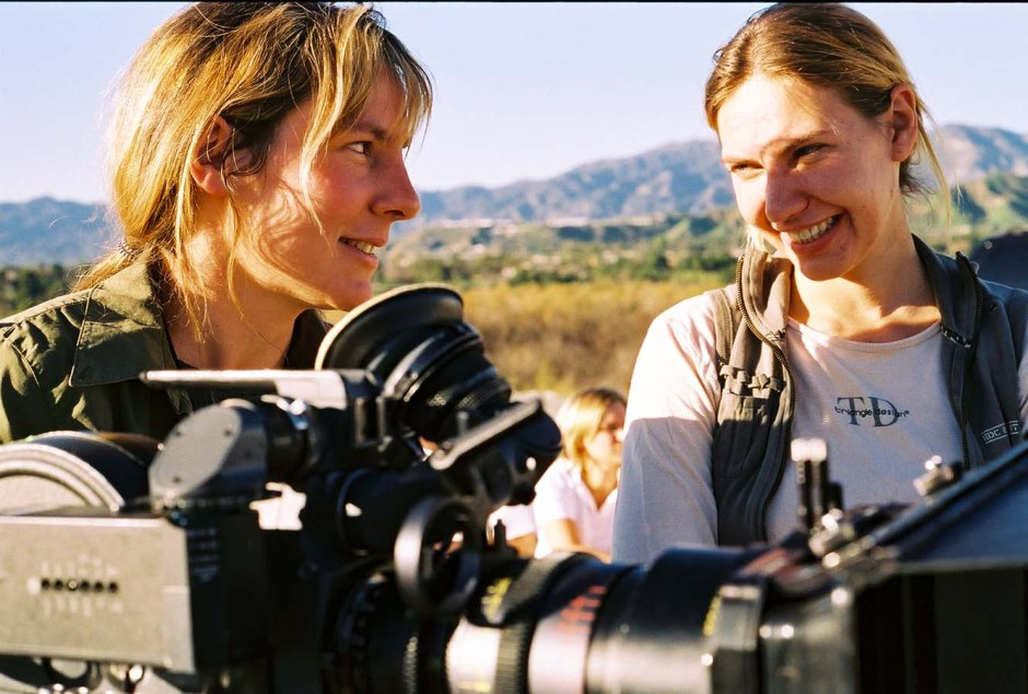 Director Barbara Stepansky talks with her DP Leah Striker on set. Photo courtesy of Barbara Stepansky.