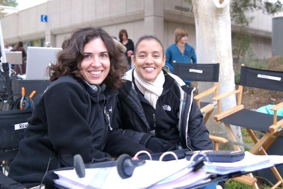 "Director Jac Shaeffer and producer Rikki Jarrett on the set of ""TiMER."" Photo courtesy of Rikki Jarrett."