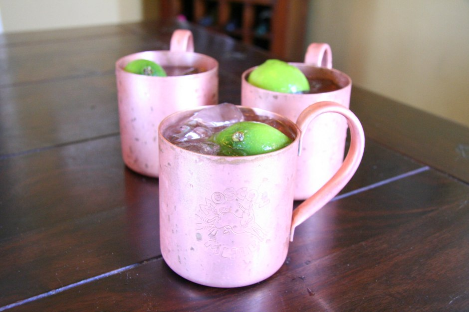 Moscow mules mixed by Jeff Stewart and served in authentic copper mugs. Photo by Barbara Stepansky.