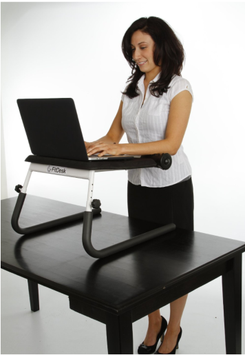 Here's FItdesk's tabletop standing desk converter. What a cool idea!  Photo courtesy of Fitdesk, Inc.