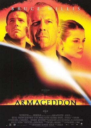 """Film poster for Michael Bay's """"Armageddon.""""  Artwork courtesy of Touchstone Pictures."""
