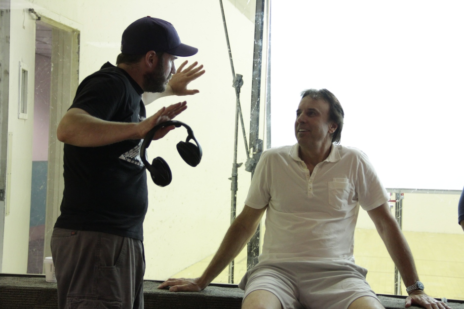 """Filmmaker Ed Dougherty and actor Kevin Nealon on the set of """"Racquetball."""" Photo courtesy of Grinning Man Media Group."""