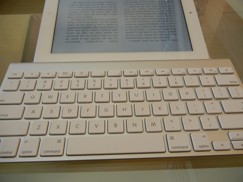 A blu-tooth enabled keyboard makes the iPad a writer's dream. Photo by Kam Miller.