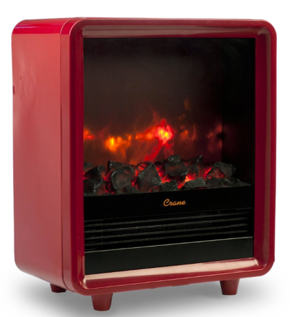 The Crane fireplace space heater is super-cute and cozy. I want.  Photo courtesy of Crane products.