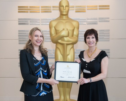 "Director Barbara Stepansky received her Nicholl Fellowship for her script ""Sugar in My Veins. Barbara (left) is pictured with producer Gale Ann Hurd. Photo courtesy of the Academy of Motion Picture Arts & Sciences."