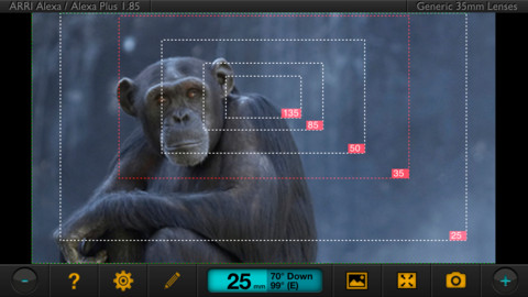 Here's a screen shot from the Artemis Director's Viewfinder App.  Photo courtesy of Chemical Wedding.
