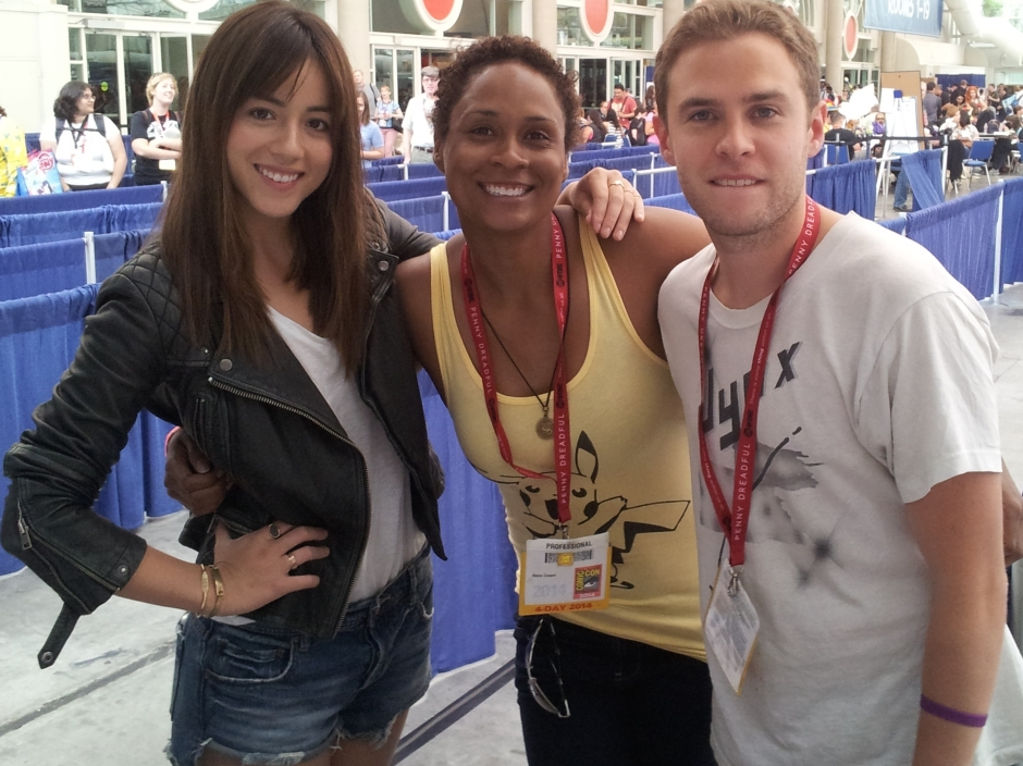 """Marvel Agents of S.H.I.E.L.D."" Chloe Bennett and Iain de Caestecker pose with Akela Cooper. Photo credit: Tim Elliott."