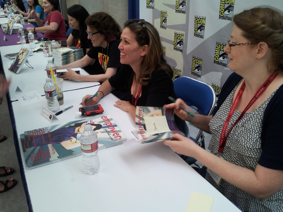 Jennifer Quintenz, Pang-Ni Landrum, Jane Espenson, and Amy Berg have fun talking with fans and signing books and posters. Photo credit: Timothy Elliott.