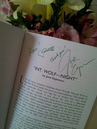 Yes, we signed each other's books. Here's Jane Espenson's creative signature.  Photo credit: Timothy Elliott.