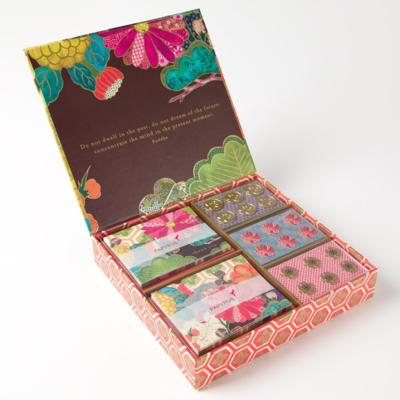 The Papyrus store's stationery cabinet contains beautiful thank you note cards with matching envelopes and envelope sealers. Photo courtesy of Papyrus.