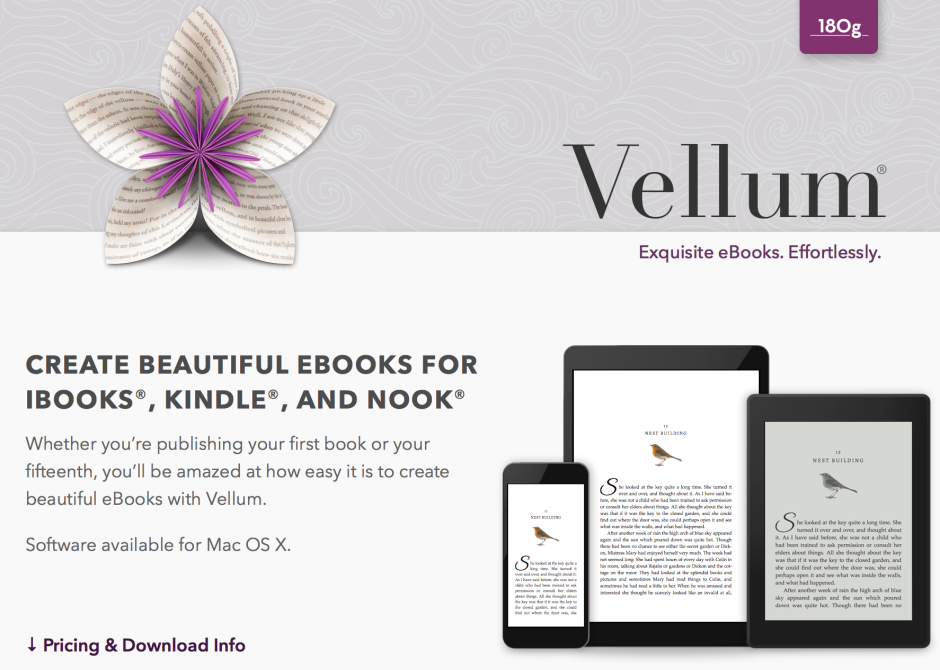 Vellum software helps indie writers create e-books with ease. Photo courtesy of Vellum.