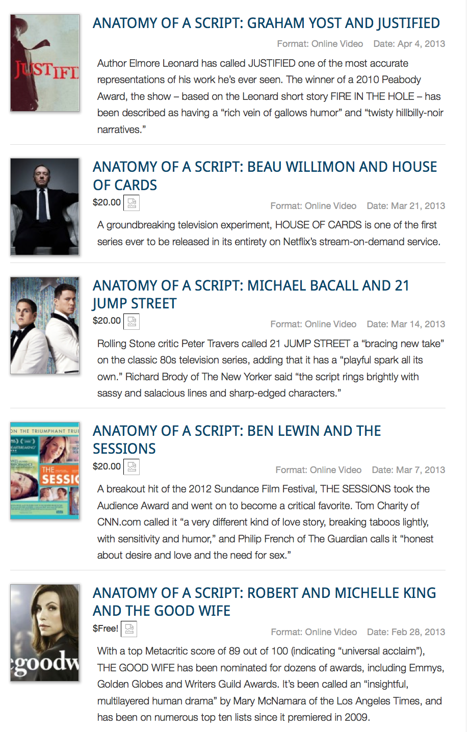 The Writers Guild Foundation has a library of videos available online. Photo courtesy of Writers Guild Foundation.