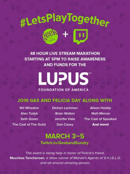 Geek & Sundry support the Lupus Foundation of America on Twitch.tv.  Artwork courtesy of Geek & Sundry.
